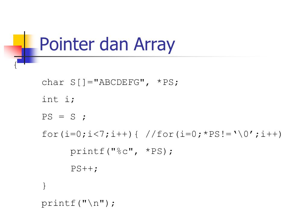 Pointer dan Array { char S[]= ABCDEFG , *PS; int i; PS = S ;